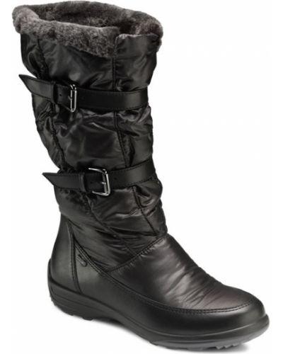 Кожаные сапоги зимние без каблука Ecco