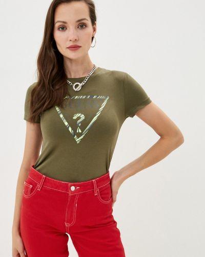 Зеленая с рукавами футболка Guess Jeans
