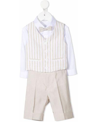 Klasyczny beżowy garnitur w paski Colorichiari