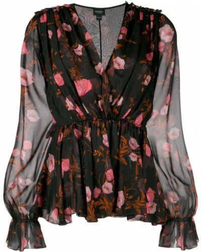 Блузка с длинным рукавом с баской с цветочным принтом Giambattista Valli
