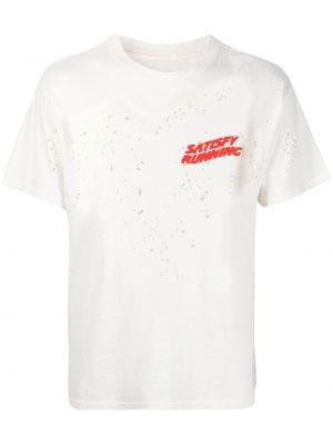 Biały t-shirt bawełniany krótki rękaw Satisfy