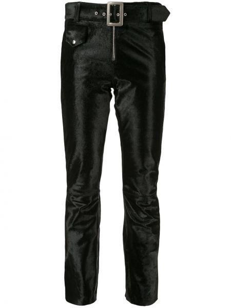 Кожаные черные укороченные брюки с карманами узкого кроя Yang Li