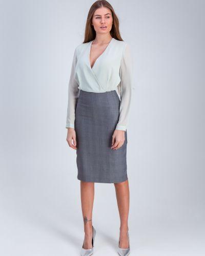 Шифоновое платье для офиса мятное Grandua