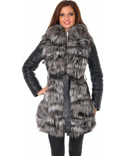 Черное пальто с капюшоном из лисы Mor`a