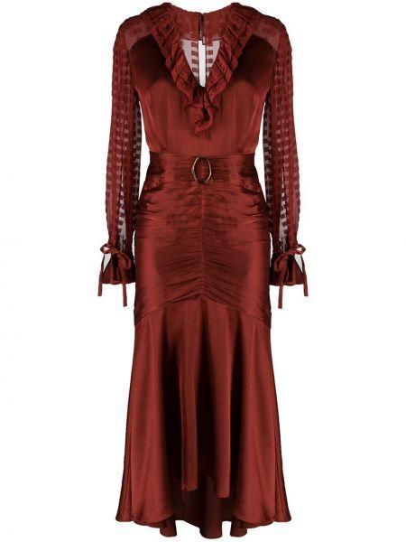 Расклешенное приталенное шелковое платье миди на молнии Three Floor