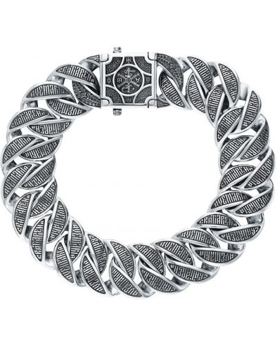 Серебряный браслет с декоративной отделкой акимов