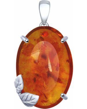 Серебряная подвеска коричневый с янтарем Sokolov