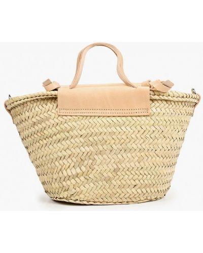 Бежевая соломенная кожаная сумка Mango
