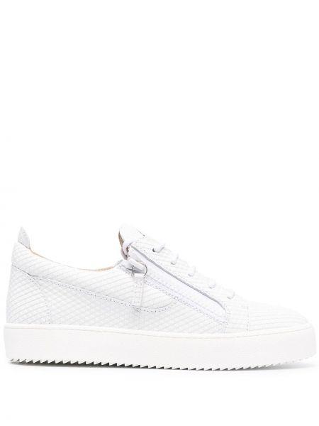 Biały koronkowa skórzany sneakersy okrągły Giuseppe Zanotti