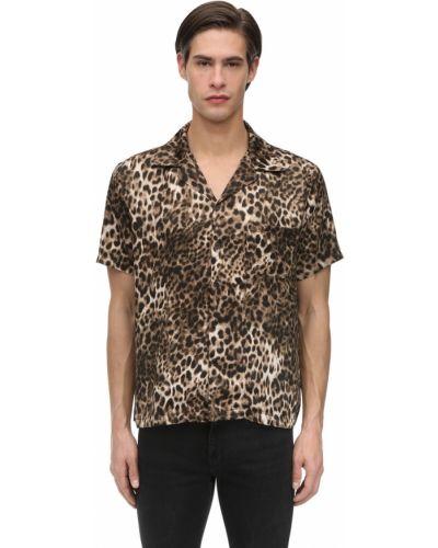 Klasyczna brązowa klasyczna koszula krótki rękaw Other