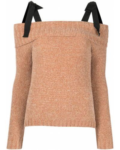 Джемпер с открытыми плечами - коричневый Cinq À Sept