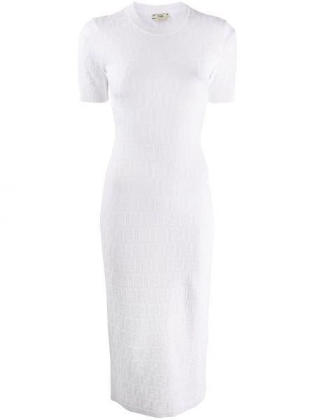 Платье миди вязаное с рукавами Fendi