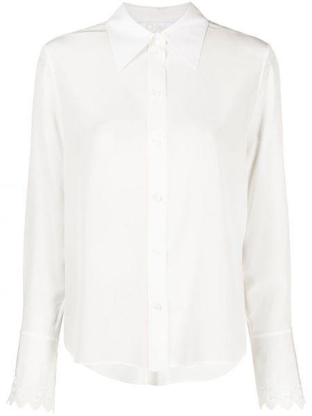 Шелковая белая классическая рубашка с воротником Chloé