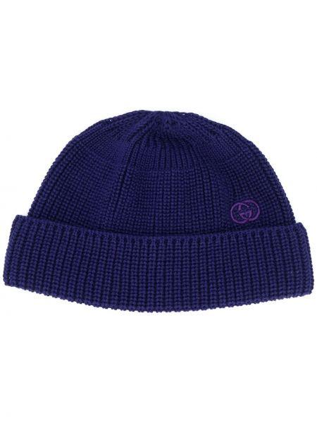 Trykotowy niebieski bawełna bawełna trykotowy czapka Gucci