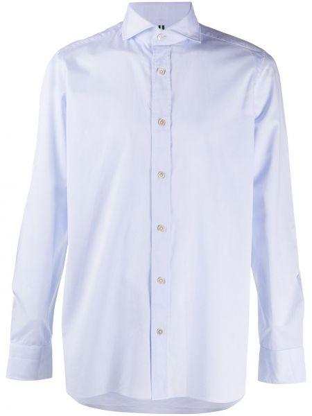 С рукавами синяя рубашка с воротником на пуговицах Borrelli