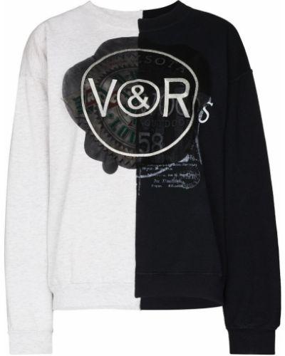 Хлопковый черный свитшот с круглым вырезом Viktor & Rolf
