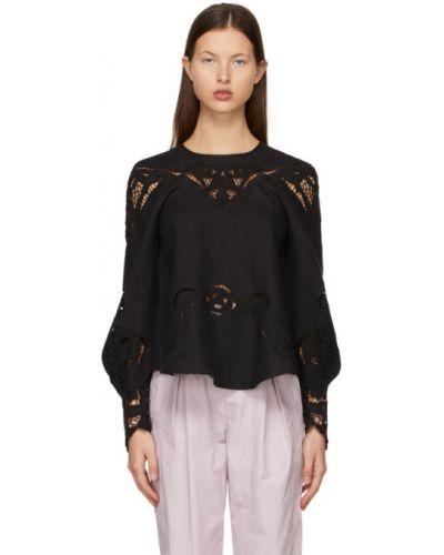 Кружевная черная блузка с воротником Isabel Marant