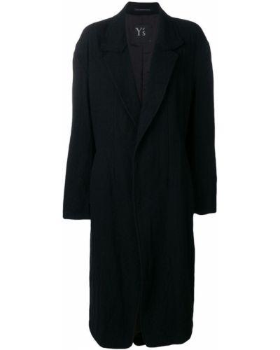 Шерстяное черное пальто классическое Y's