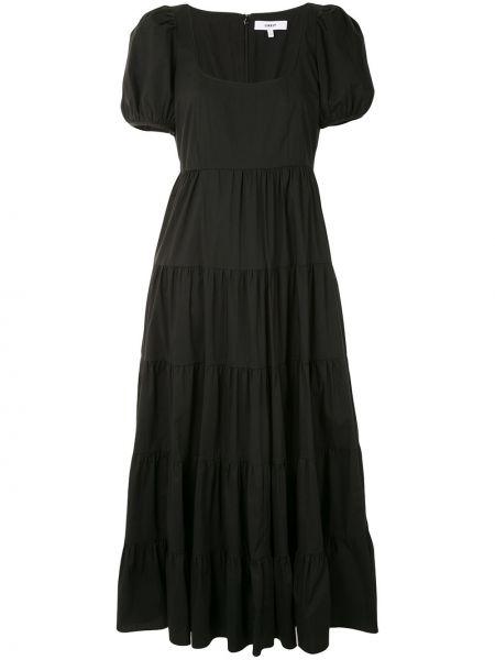Расклешенное с рукавами черное платье миди Likely