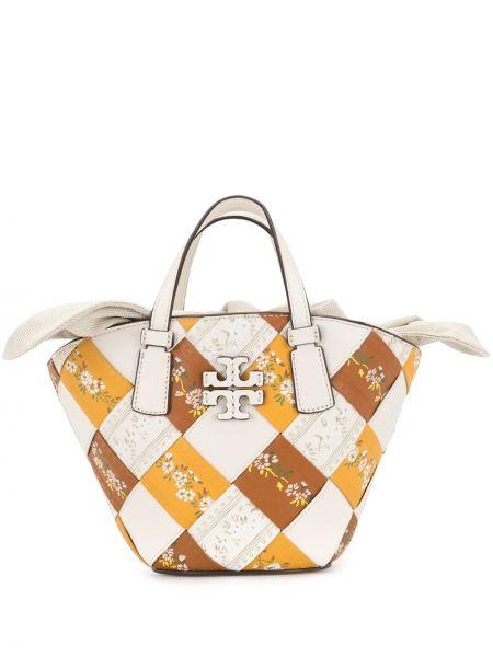 Кожаная сумка шоппер с вышивкой с подкладкой Tory Burch