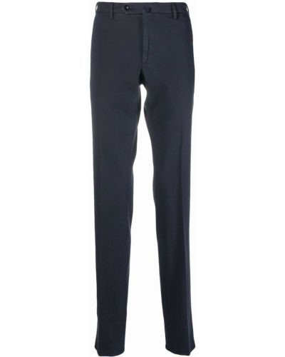 Хлопковые прямые синие брюки Incotex