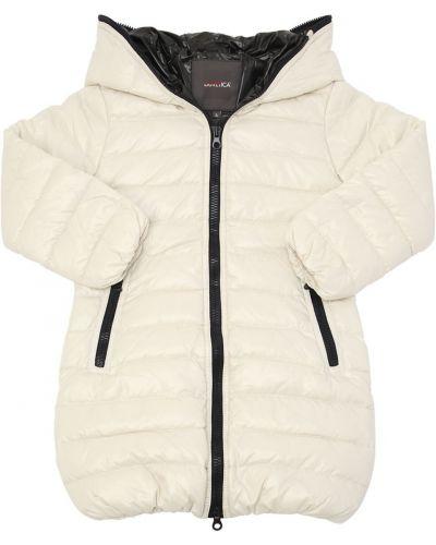 Белое пуховое пальто с капюшоном Duvetica