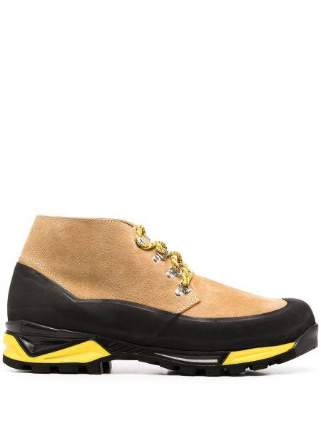 Кожаные ботинки на шнуровке со вставками Diemme