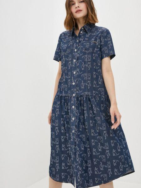 Платье платье-рубашка синее Buono