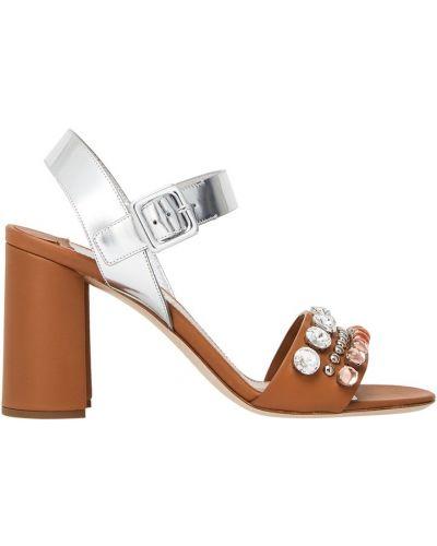 Босоножки на каблуке со стразами Miu Miu