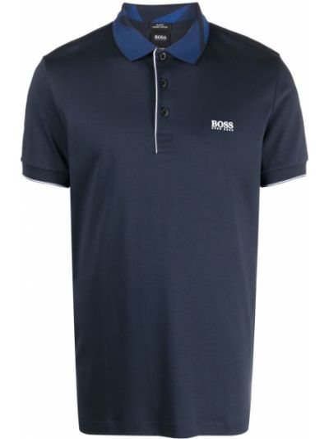 Prążkowana niebieska koszula bawełniana Boss Hugo Boss