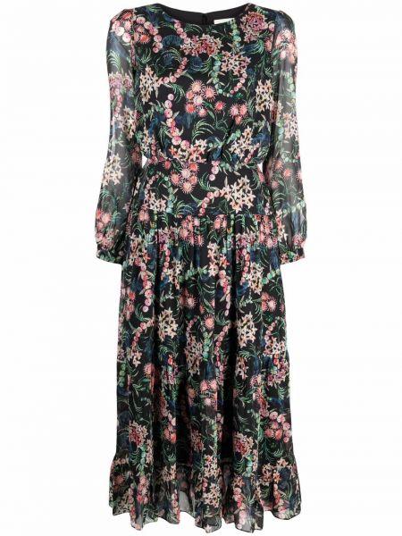 Czarna sukienka z jedwabiu Saloni