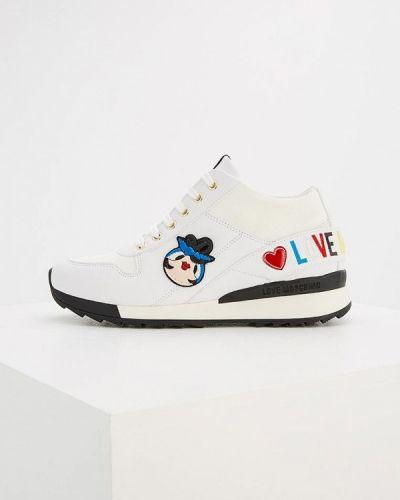 Белые кожаные кроссовки Love Moschino