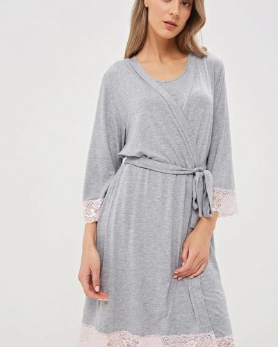 Домашний халат - серый дефиле