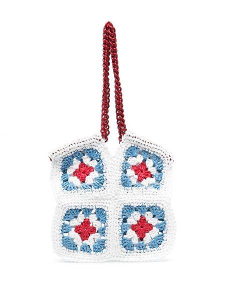 Biała torebka na łańcuszku z wiskozy Maria La Rosa