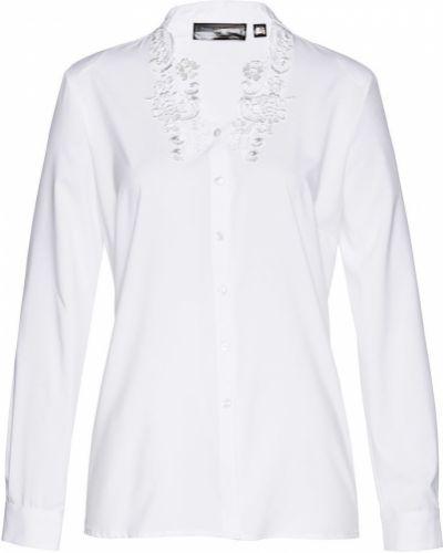 С рукавами кружевная белая блузка Bonprix