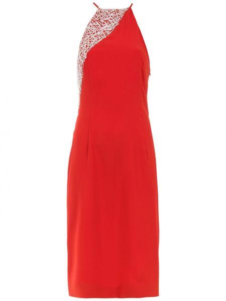 Красное платье с открытой спиной с вышивкой на бретелях Gloria Coelho