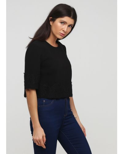Черная кружевная блузка с короткими рукавами French Connection