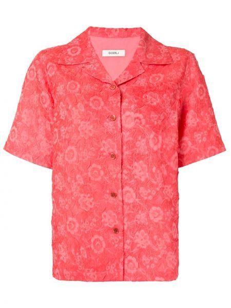 Хлопковая розовая классическая рубашка с воротником на пуговицах Goen.j
