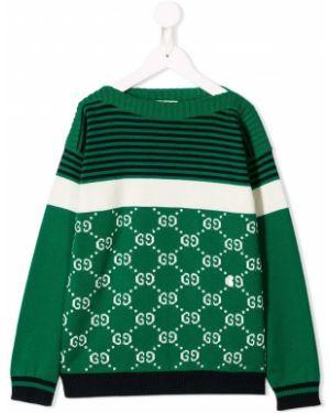 Джемпер черный зеленый Gucci Kids