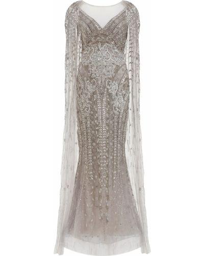 Вечернее платье длинное - серебряное Marchesa
