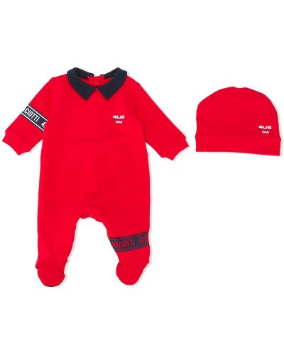 Красная хлопковая с рукавами пижамная пижама Cesare Paciotti 4us Kids