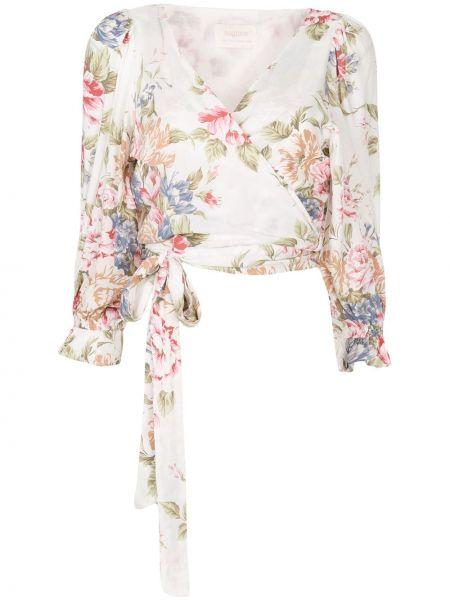 Блузка с принтом - белая Auguste