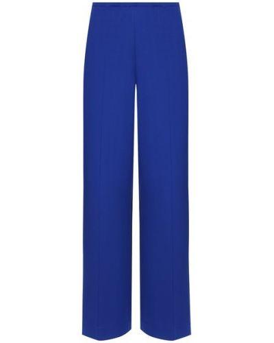 Синие шелковые брюки свободного кроя с поясом St. John