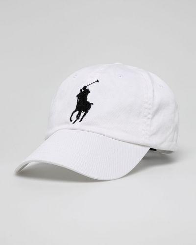 Biały kapelusz skórzany Polo Ralph Lauren