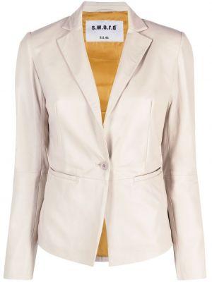 Бежевый приталенный кожаный пиджак S.w.o.r.d 6.6.44