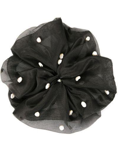 Шелковая черная резинка для волос с жемчугом на резинке Le Chic Radical