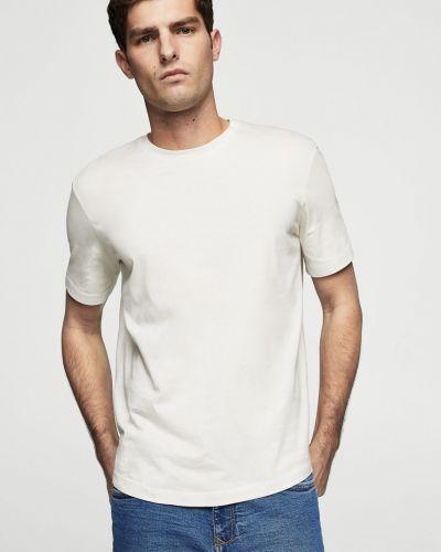 Белая футболка однотонная Mango Man