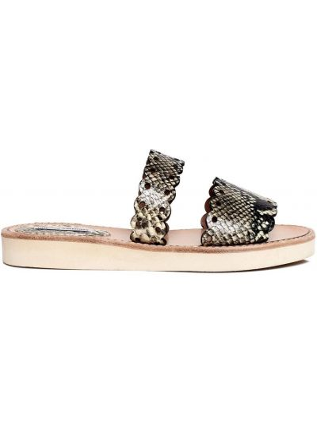 Złote sandały płaska podeszwa peep toe Tabitha Simmons