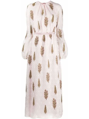 Różowa sukienka długa z printem Giambattista Valli