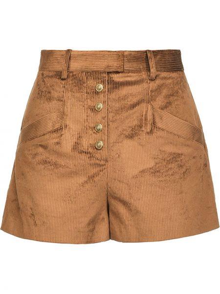 Brązowy bawełna szorty z kieszeniami z wiskozy Pinko